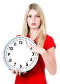 Timeless. time concept. woman with a clock — Stock Photo