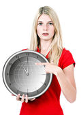 Young woman with the clock — Stock Photo