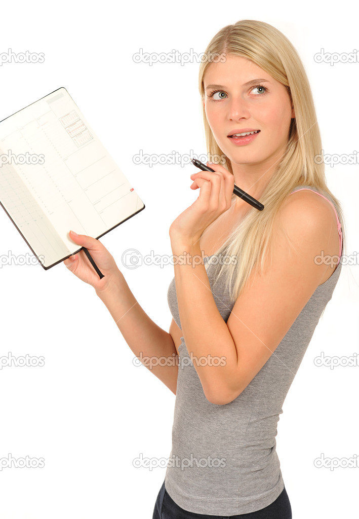 Cute girl with a diary on white background — Stock Photo #13861073