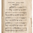 Old music sheet of Silent Night, popular Christmas carol — Stock Photo
