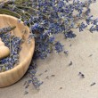 Royalty-Free Stock Photo: Wooden mortar with dry lavender flowers
