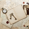 Stock Photo: Old weding photo, letters and post cards