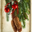 Christmas decoration with red balls and fir tree — Stock Photo