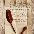 Old letter with vintage feather quill — Stock Photo