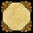 Golden elements of carved frame grungy square — Stock Photo