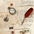 Royalty-Free Stock Photo: Letters and post cards with vintage clock