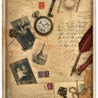 Nostalgic vintage styled background with old photos — Stock Photo