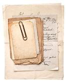 Kupie stare archiwalne dokumenty, karty i listy — Zdjęcie stockowe