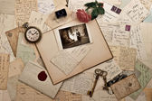 Old letters, photographs and post cards — Stock Photo