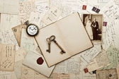 Old weding photo, letters and post cards — Stock Photo