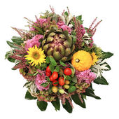 Autumn flowers arrangement with artichoke — Stock Photo