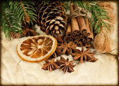 Juldekoration med kanelstänger och anis stjärnor — Stockfoto