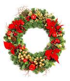 De kroon van kerstmis met poinsettia bloemen en gouden decoratie — Stockfoto