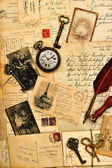 Old post cards, letters and photos — Stockfoto