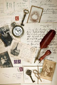Vintage background with old photos — Stock Photo