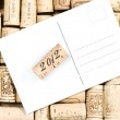 Wine corks and white card — Stock Photo