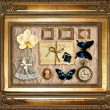Vintage things in golden frame - Zdjęcie stockowe