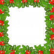 Frame of holly twigs with red berries - Stock Photo