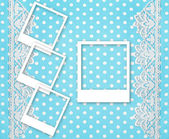 Three picture photo frames over blue background — Stock Photo