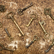 Old golden keys over vintage paper background — Stock Photo #14075645