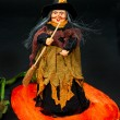 Halloween witch with a broom - Stock Photo