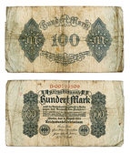 Antique german one hundred mark banknote — Stock Photo