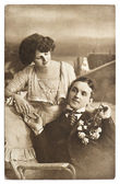 Young romantic couple. old sepia picture — Stock Photo