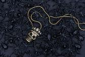 Schwarze spinne und käfer mit totenkopf dekoration — Stockfoto