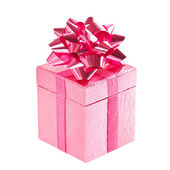 Pink gift box with bow on white — Stock Photo