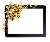 Altın yay ile tablet pc — Stok fotoğraf