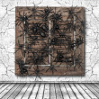 Stock Photo: Cracked wall and wooden window with black spider