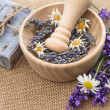 Mortar with fresh lavender and chamomile — Foto de Stock