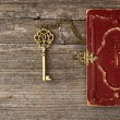 Key and old bible book cover — Stock Photo