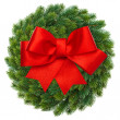 Stock Photo: Green christmas wreath with red ribbon bow