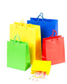 Shopping bags red, blue, yellow, green — Stock Photo