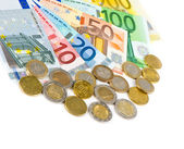 Euro currency. coins and banknotes — Stock Photo