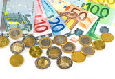 крупным планом валюты евро. монеты и банкноты — Стоковое фото