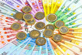Euro coins and banknotes. money background — Stock Photo