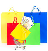 Shopping concept. Colorful bags and cart with cash — Stock Photo