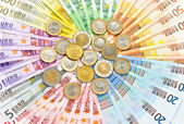 Closeup of euro coins and banknotes — Stock Photo