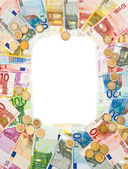 Euro coins and banknotes frame — Stock Photo