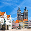 Market square in Wittenberg, main square of old german town. - Stock Photo