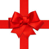 Red ribbon bow isolated on white — Stock Photo