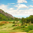 Beautiful golf field landscape with cloudy blue sky - Stock Photo