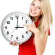 Young beautiful woman with the clock — Foto de Stock