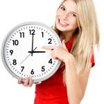jovem mulher bonita com o relógio — Foto Stock