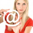 Blonde beautiful woman with internet symbol — Stock fotografie