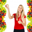 Young smiling woman with fresh berries — Stock Photo #14468031