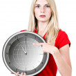 Young beautiful woman with the clock — Stock Photo #14468095