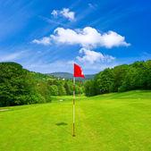 Golf field and blue sky. european landscape — Stock Photo